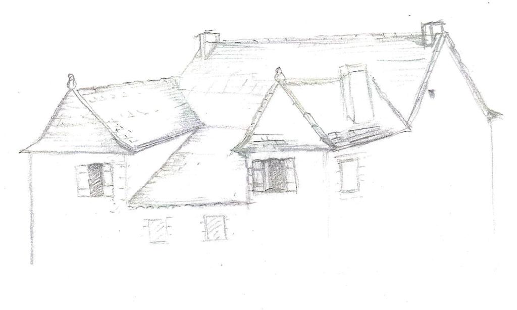 Tentative de restitution de la toiture du bâtiment à la Révolution.